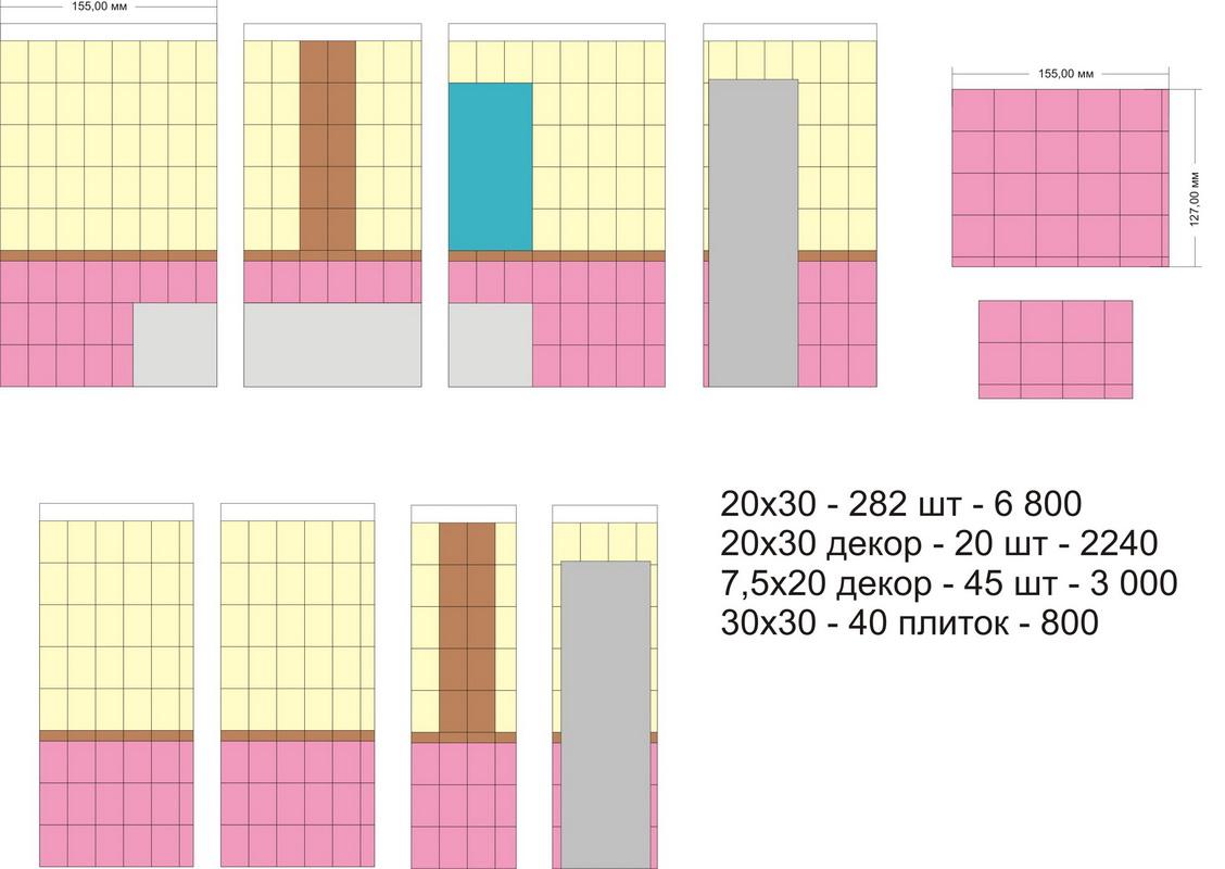 расчет количества плитки для ванной