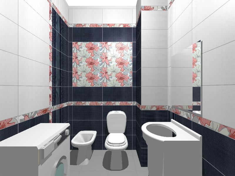 раскладка плитки в ванной 3d