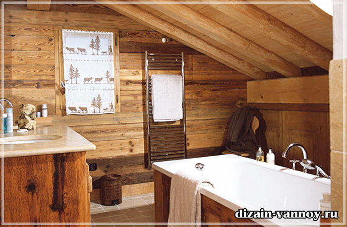 ванная в стиле шале