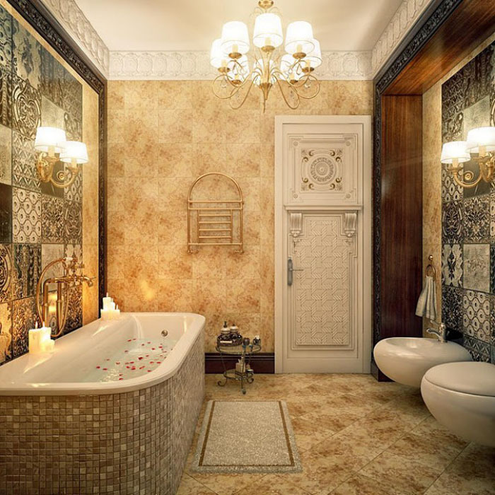 плитка в ванную с цветами