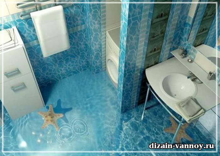 полы 3д фото в ванной