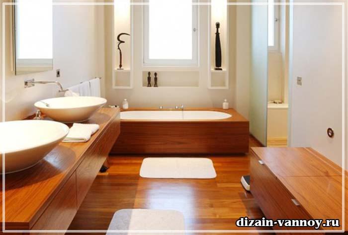 пол в ванной из лиственницы