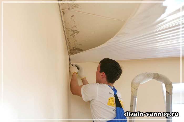 ремонт потолка в ванной