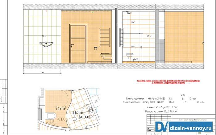 дизайн проект ванной комнаты фото