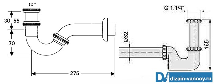 сифон полуавтомат для ванной