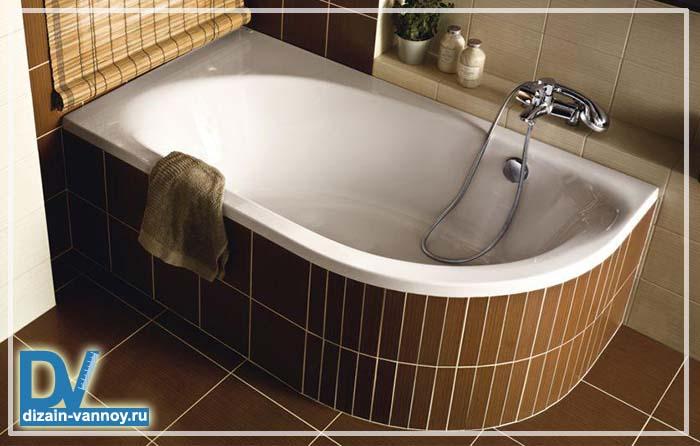 асимметричные чугунные ванны