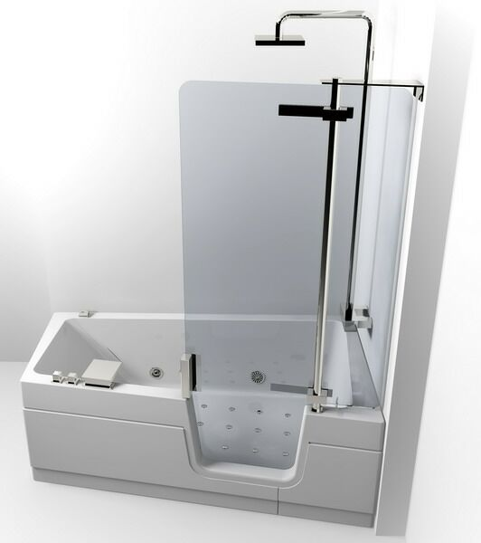 ванна с прозрачной дверцей