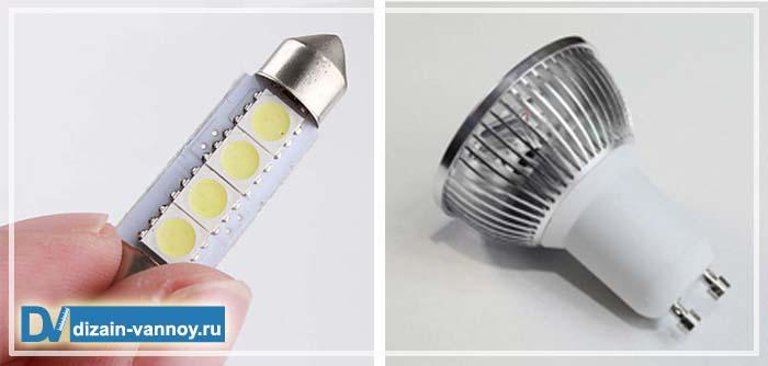 светодиодные светильники в ванную комнату