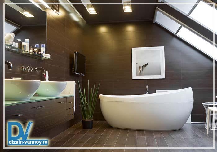 Дизайн ванной мансардной комнаты