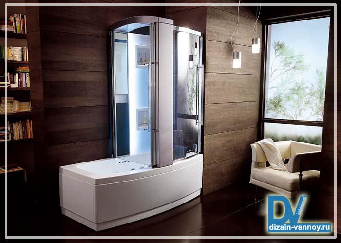 ванна и душевая кабина вместе