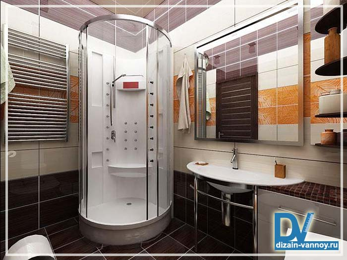 Дизайн ванны с душевой кабиной 4 кв.м