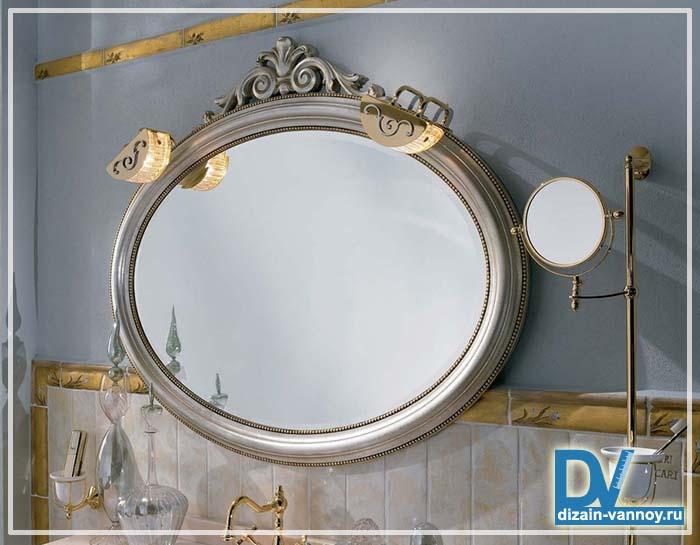 зеркало овальное для ванной комнаты