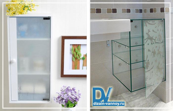 Стеклянные шкафы для ванной комнаты и дверцы из стекла