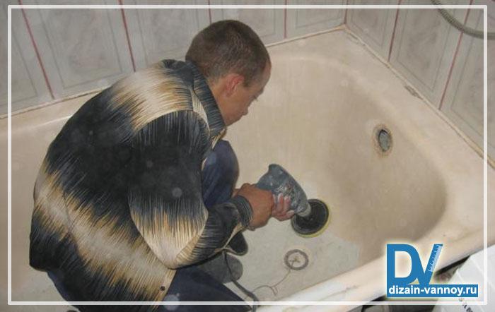 установка акрилового вкладыша в ванну