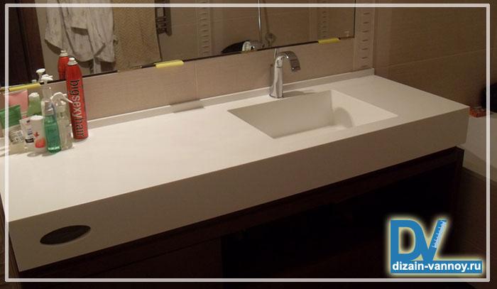 Столешница в ванную из пластика Столешница искуственный камень Полянка