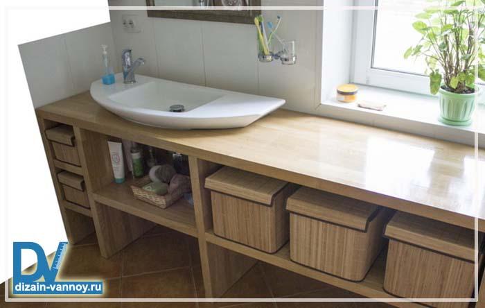 столешница из дерева для ванной