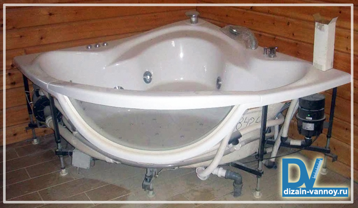 как установить ванну с