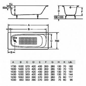 Размер ванны стандартной акриловой