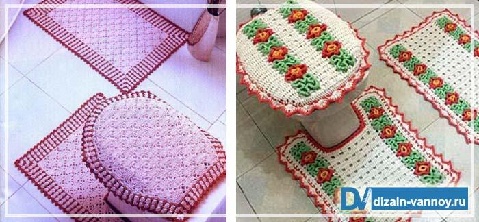 вязанные коврики в ванную комнату