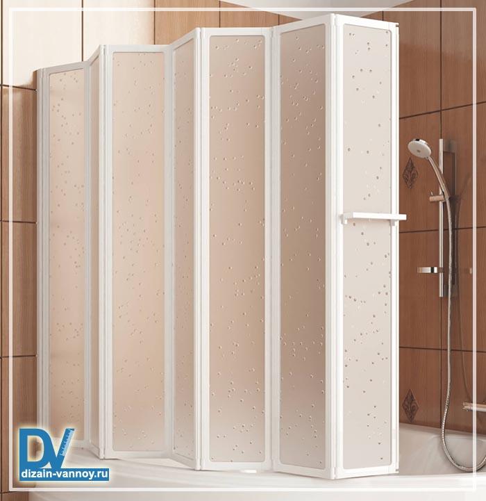 стеклянная шторка для ванной складная