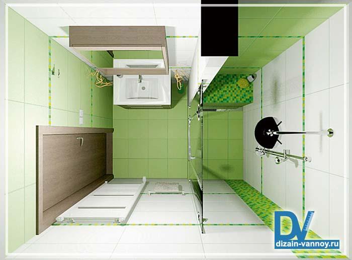 дизайн проект маленькой ванной комнаты