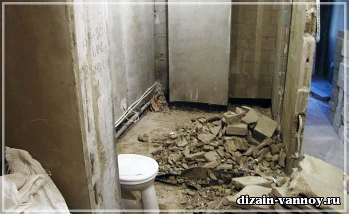 совмещение туалета и ванны