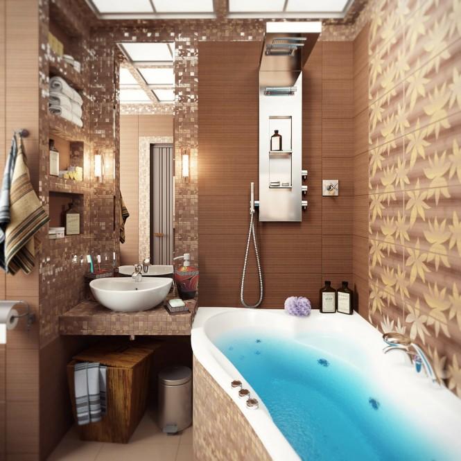 дизайн кладки кафеля в ванной