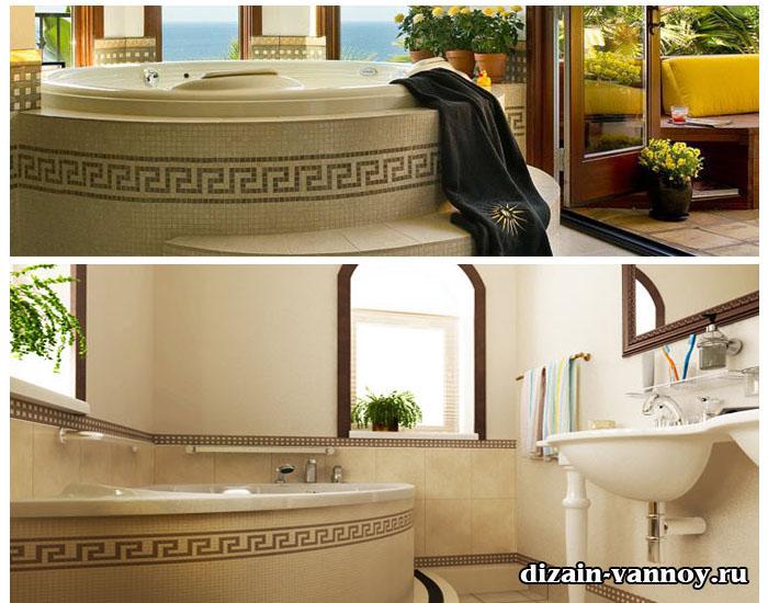 средиземноморский стиль ванной комнаты