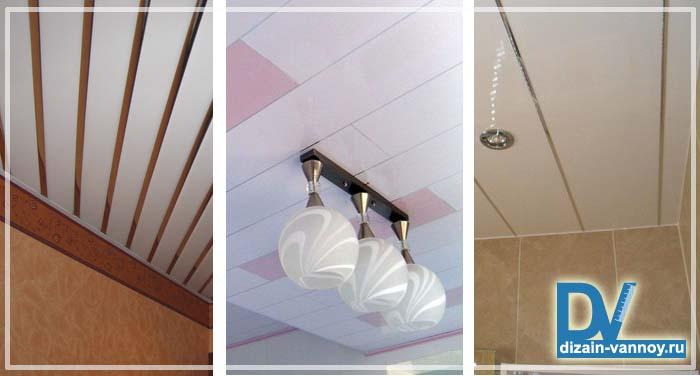 пластиковые потолки в ванной фото