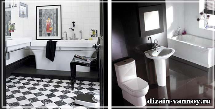 ванная с черным полом