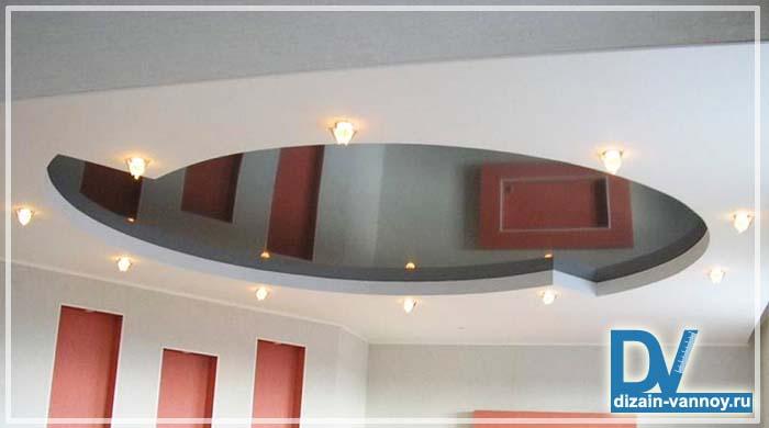 потолки из гипсокартона фото ванная
