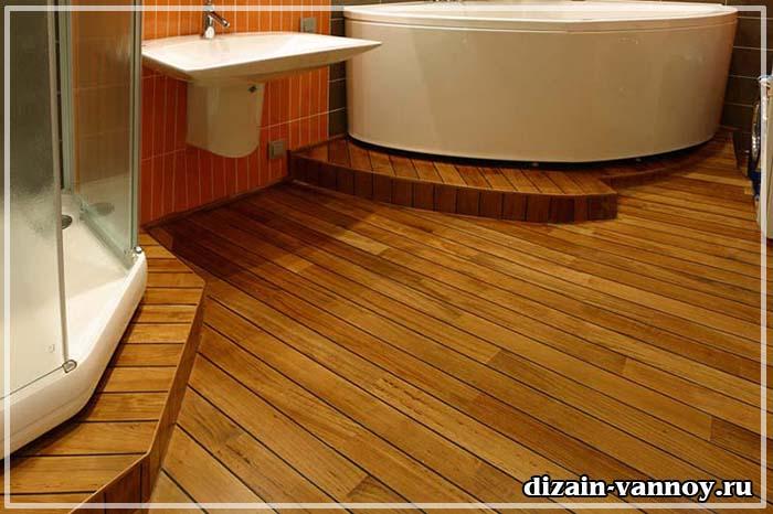 тиковый пол в ванной