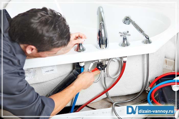 монтаж смесителя в ванной