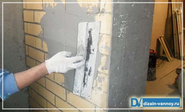 чем ровнять стены в ванной