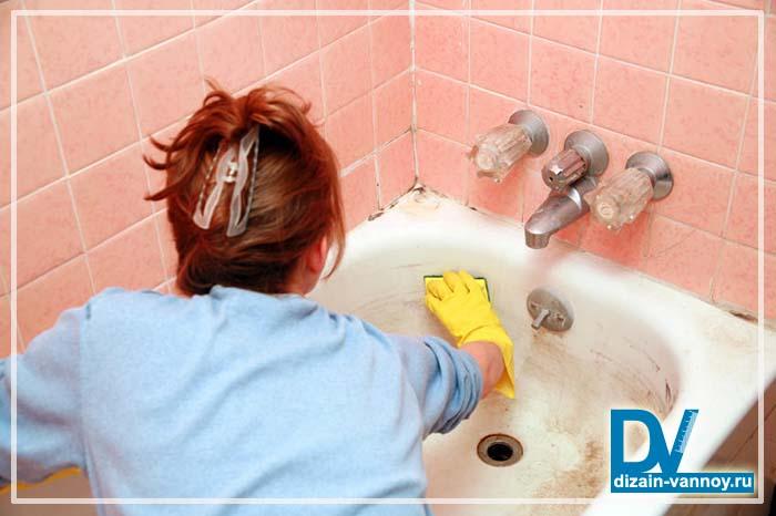 чистим ванну содой и уксусом