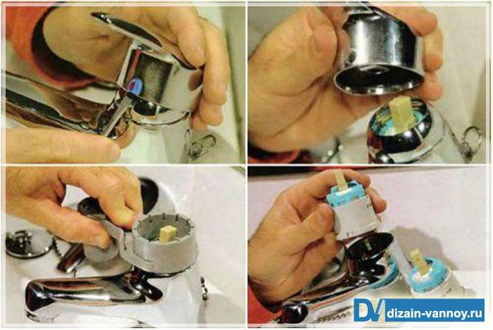 разборка смесителя для ванной