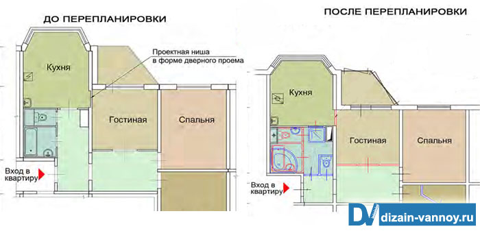 размер ванной комнаты в п44т