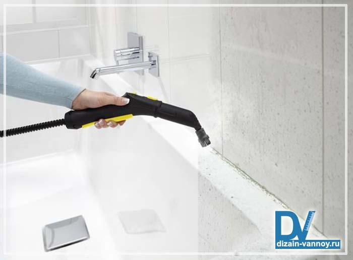 чистка швов плитки в ванной
