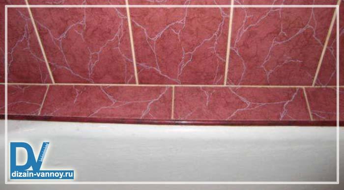 стык плитки и ванны
