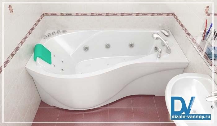 ванна угловая асимметричная