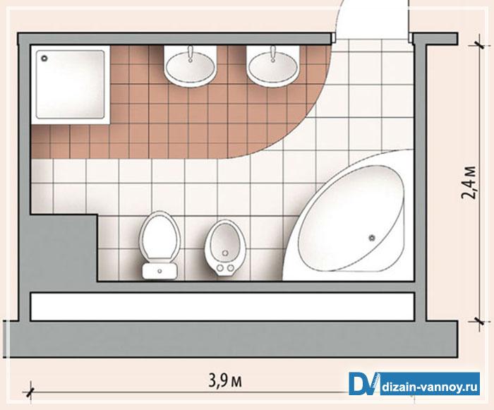 ванная совмещенная с душевой кабиной
