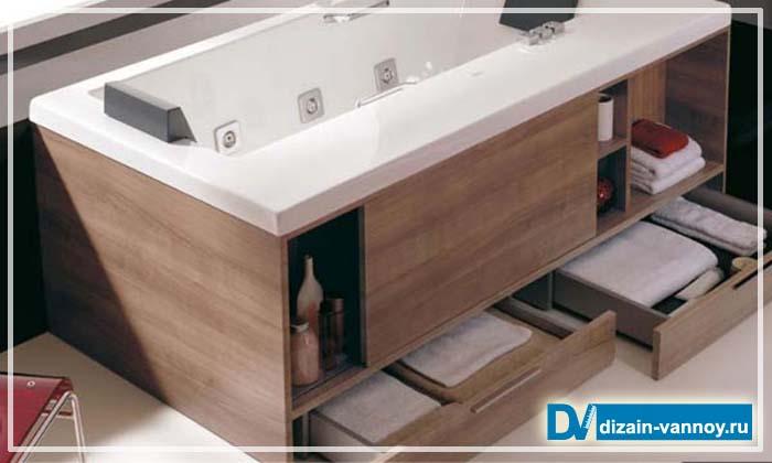 экран под ванну с ящиками