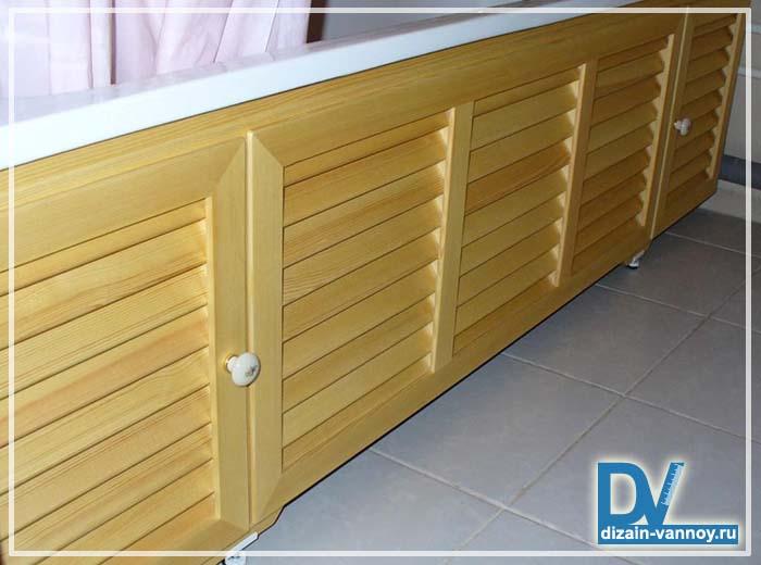 экран для ванной деревянный