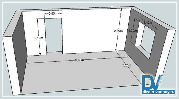 как рассчитать площадь ванной комнаты