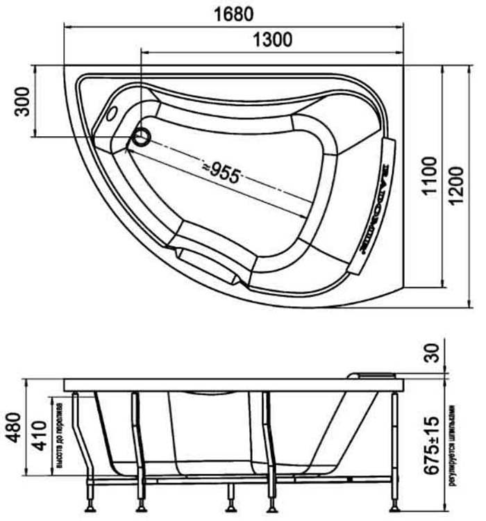 ширина стандартной ванны
