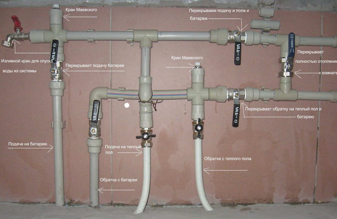 трубопроводы отопительной системы